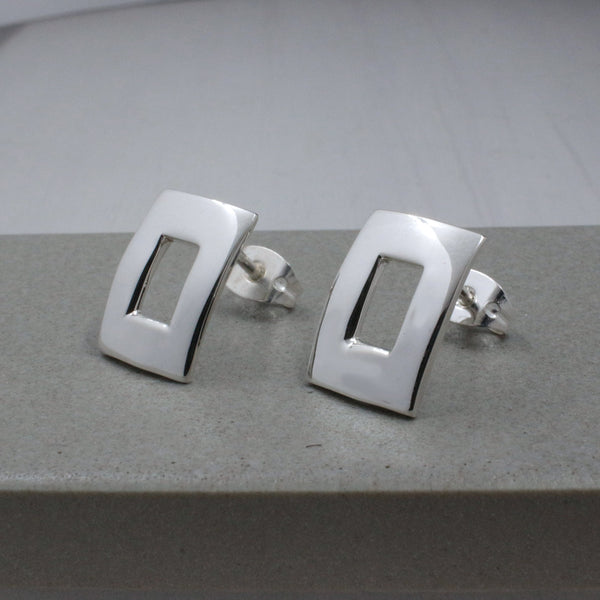 Small Off-Center Rectangle Silver Earrings - High-Polished Silver - Stud Earrings