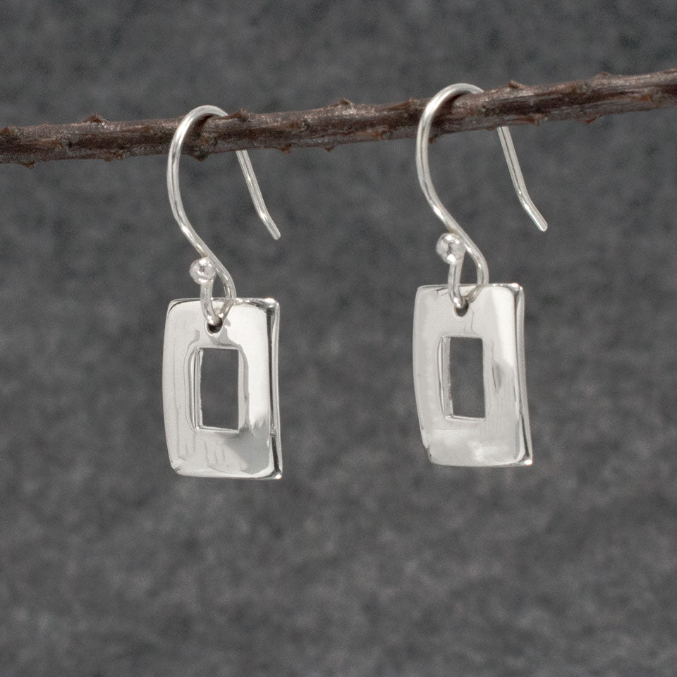Small Off-Center Rectangle Sterling Silver French Wire Earrings | High Polished Finish