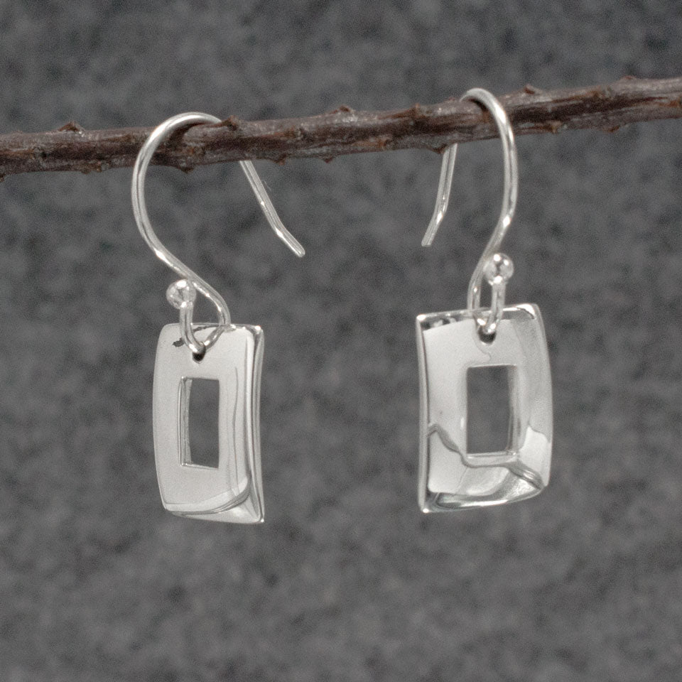 Small Off-Center Rectangle Sterling Silver Earrings With High Polished Silver Finish | Silver earrings, silver dangle earrings, hammered silver earrings, oxidized silver earrings, brushed silver earrings, silver jewelry, inpiranza, silpada jewelry, wholesale silver jewelry