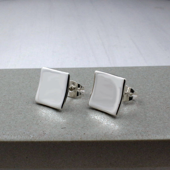 Small Dapped Square Silver Earrings | High Polished Sterling Silver | Jewelry | Silver | Wholesale | Sterling Silver | Jewelry | Silver | Wholesale Post Earrings