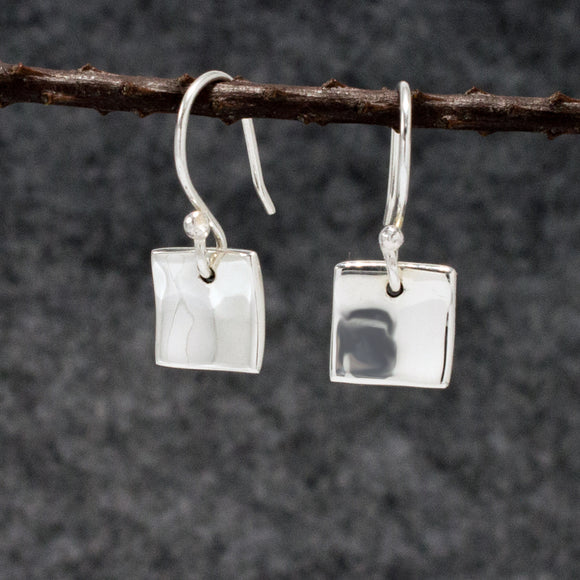Small Dapped Square Silver Earrings | High Polished Sterling Silver | Jewelry | Silver | Wholesale | French Wire Sterling Silver | Jewelry | Silver | Wholesale Earrings