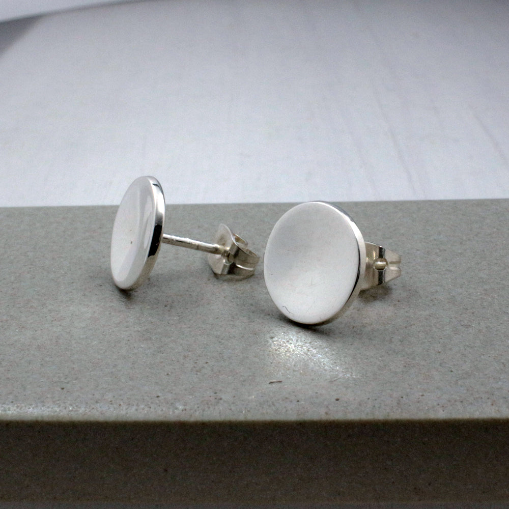 Small Dapped Disc Sterling Silver Post Earrings | High Polished Finish