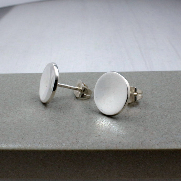 Small Dapped Disc Silver Earrings | High Polished Sterling Silver | Jewelry | Silver | Wholesale | Sterling Silver | Jewelry | Silver | Wholesale Post Earrings