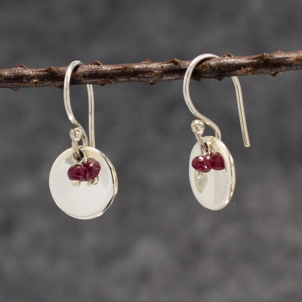 Small Dapped Disc Sterling Silver French Wire Earrings | Rough Red Ruby And High Polished Finish