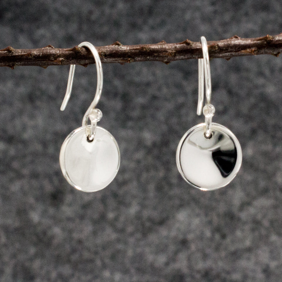Small Dapped Disc Sterling Silver French Wire Earrings | High Polished Finish