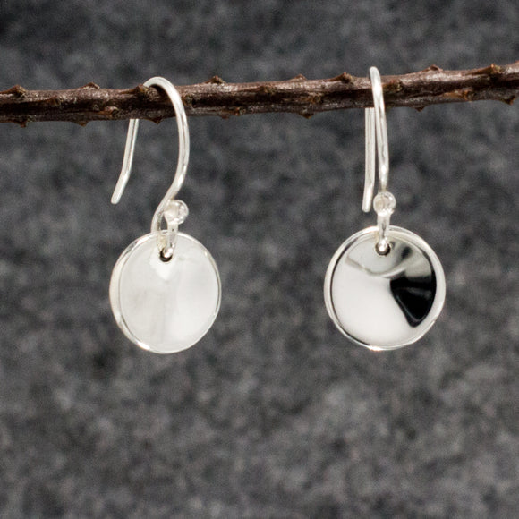 Small Dapped Disc Silver Earrings | High Polished Sterling Silver | Jewelry | Silver | Wholesale | French Wire Sterling Silver | Jewelry | Silver | Wholesale Earrings
