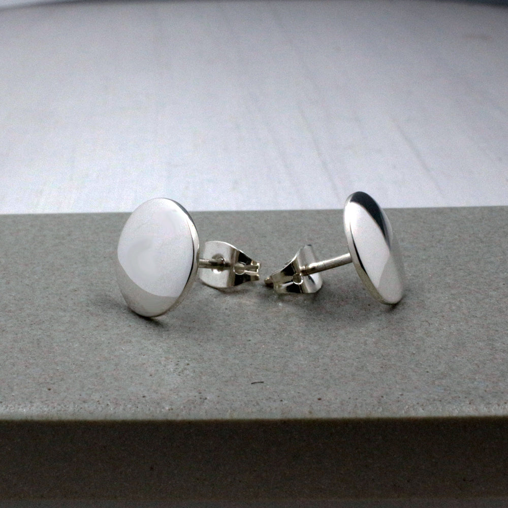 Small Disc Sterling Silver Post Earrings | High Polished Finish