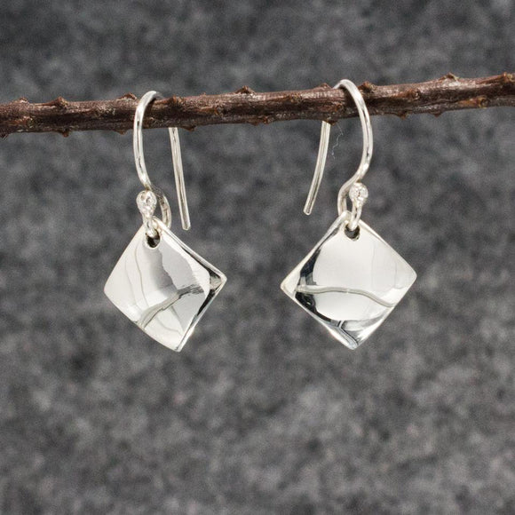 Small Rhombus Silver Earrings | High Polished Sterling Silver | Jewelry | Silver | Wholesale | French Wire Sterling Silver | Jewelry | Silver | Wholesale Earrings