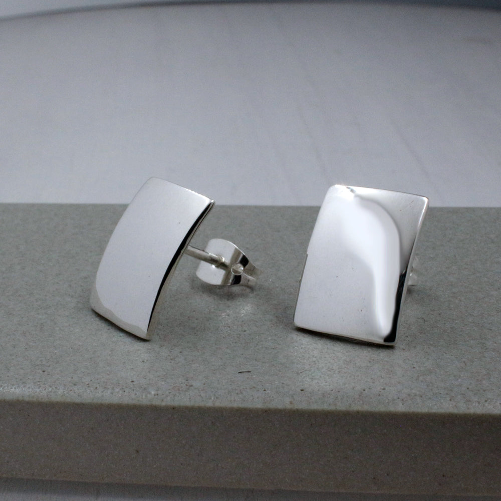 Small Rectangle Sterling Silver Post Earrings | High Polished Finish