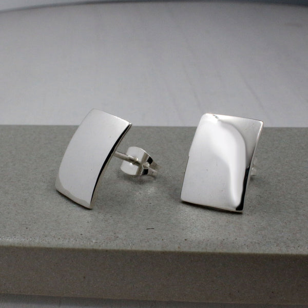 Small Convex Rectangle Silver Earrings | High-Polished Silver Earrings | Silver Post Earrings