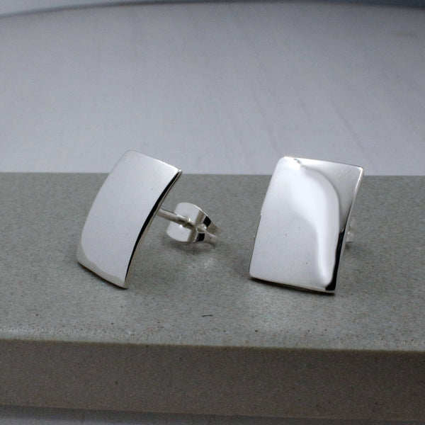Small Convex Rectangle Earrings - High-Polished Silver - Stud Earrings