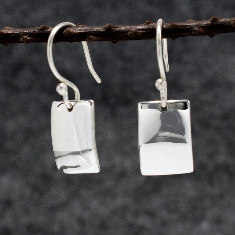 Small Rectangle Sterling Silver French Wire Earrings | High Polished Finish