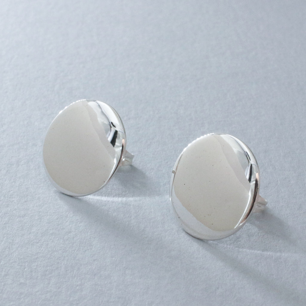 "These Artemis Disc Sterling Silver Earrings Measure 16 Millimeters In Diameter. (5/8"" Diameter) Sterling Silver Friction Post. Made Using .950 Sterling Silver With High Polished Sterling Silver Finish."