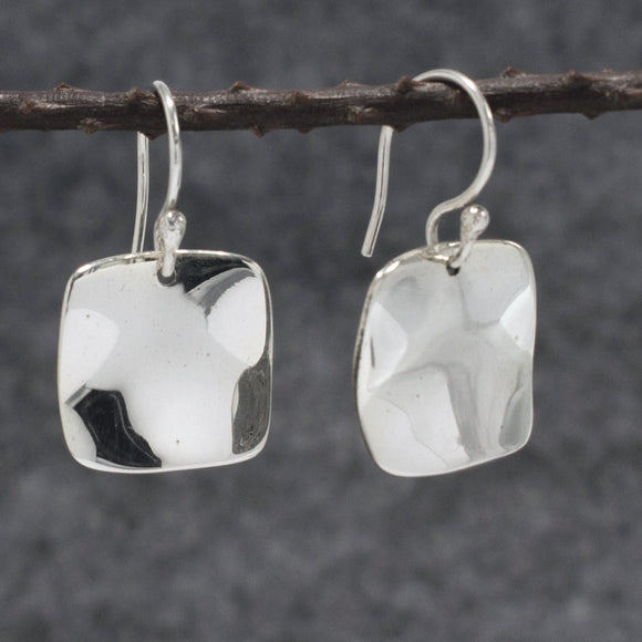 Lucilla Square Silver Earrings | Wave | High Polished Sterling Silver | Jewelry | Silver | Wholesale | French Wire Sterling Silver | Jewelry | Silver | Wholesale Earrings
