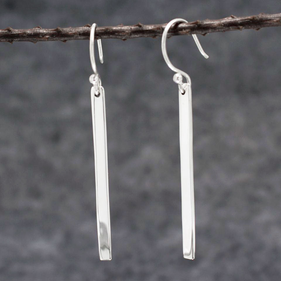 Slab Sterling Silver French Wire Earrings | High Polished Finish