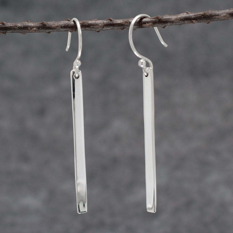 Slab Sterling Silver Earrings With High Polished Silver Finish | Silver earrings, silver dangle earrings, hammered silver earrings, oxidized silver earrings, brushed silver earrings, silver jewelry, inpiranza, silpada jewelry, wholesale silver jewelry