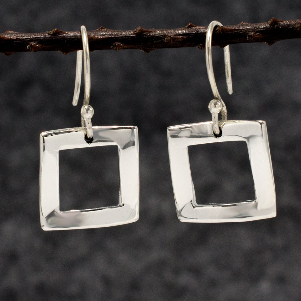 Rippled Inner Square Sterling Silver French Wire Earrings | High Polished Finish