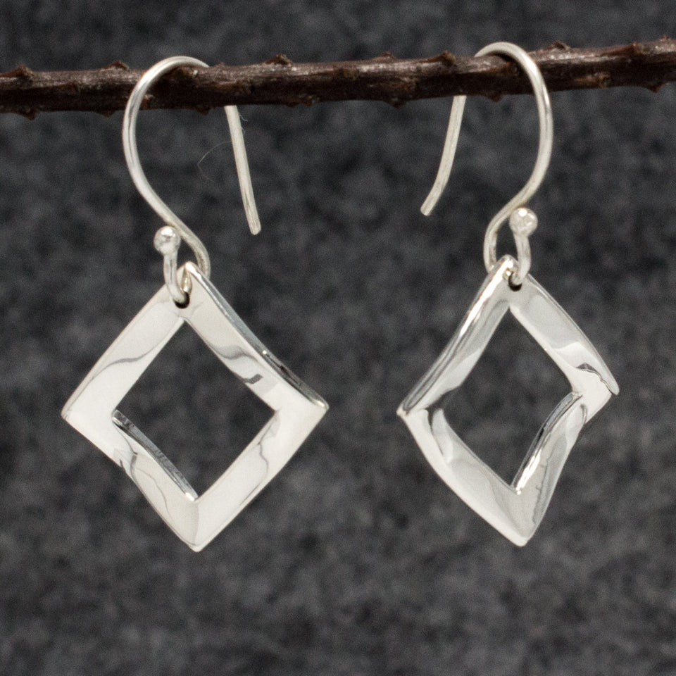 Rippled Inner Rhombus Sterling Silver French Wire Earrings | High Polished Finish