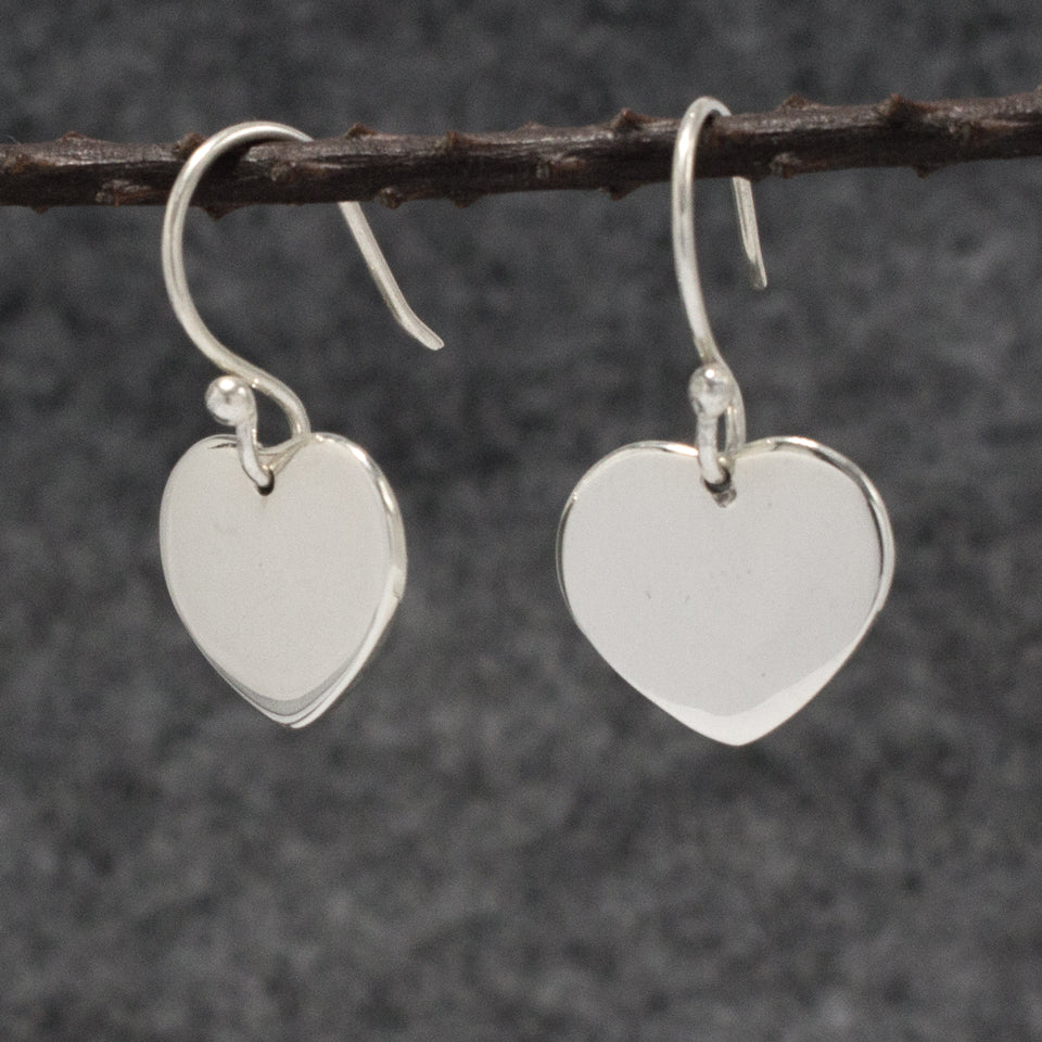 Miller Heart Sterling Silver French Wire Earrings | High Polished Finish