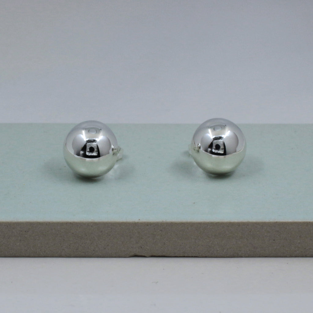 "These Dome Sterling Silver Post Earrings Measure 16 Millimeters In Diameter (5/8"" Diameter) Sterling Silver Friction Post.