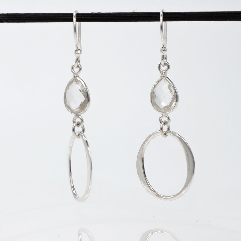 Olive Sterling Silver French Wire Earrings | Clear Quartz Drop | High Polished Finish