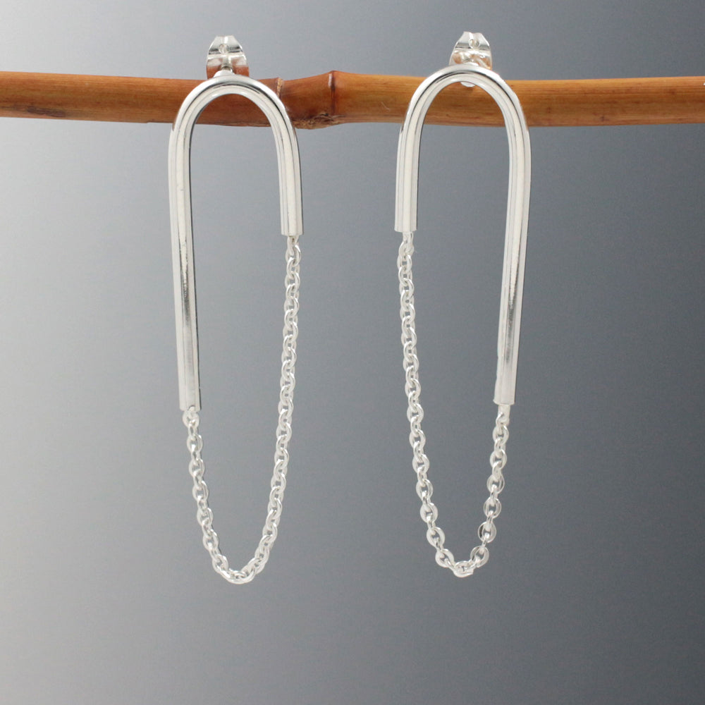 U Bar | Cable Chain Sterling Silver Post Earrings | High Polished Finish
