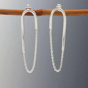 U Bar With Cable Chain Silver Earrings | High Polished Sterling Silver | Jewelry | Silver | Wholesale | Sterling Silver | Jewelry | Silver | Wholesale Post Earrings