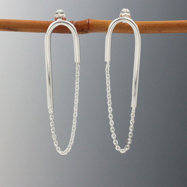 U Bar with Cable Chain Earrings - High-Polished Silver - Post