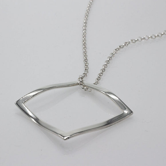 Large Rippled Outer Square Silver Jewelry Pendant | High-Polished Sterling Silver Jewelry | Sterling Silver Jewelry Chain Included