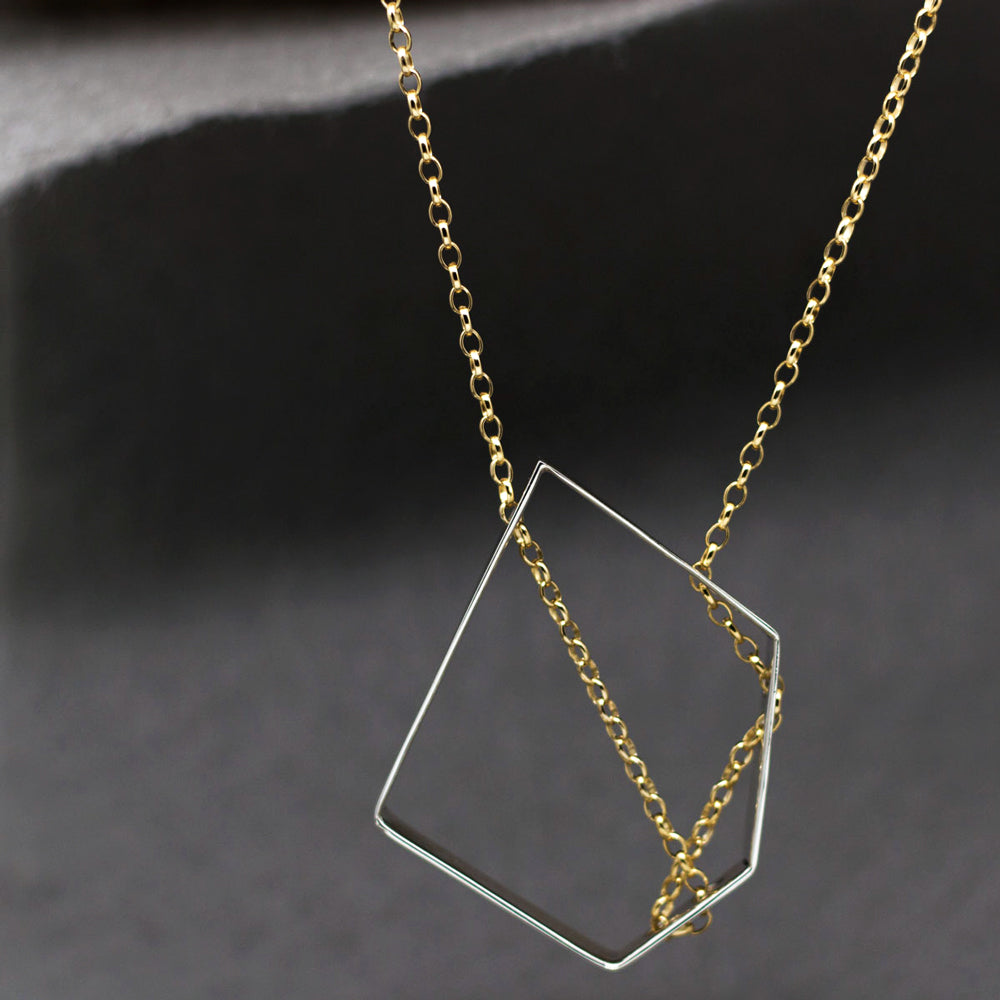 "QTZ Silhouette Sterling Silver Pendant | High Polished Finish | 20"" Adjustable Gold Filled Silver Chain"