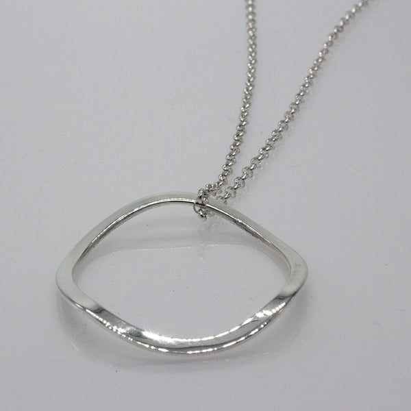 Large Rippled Outer Hoop Silver Pendant | High-Polished Sterling Silver | Sterling Silver Chain Included