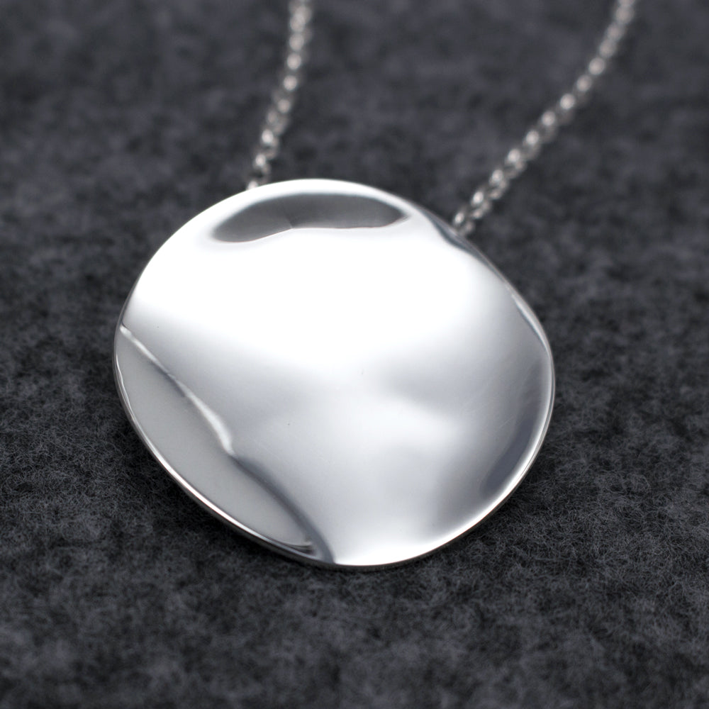 Simple Aya Sterling Silver Pendant | High Polished Finish | Adjustable Silver Chain