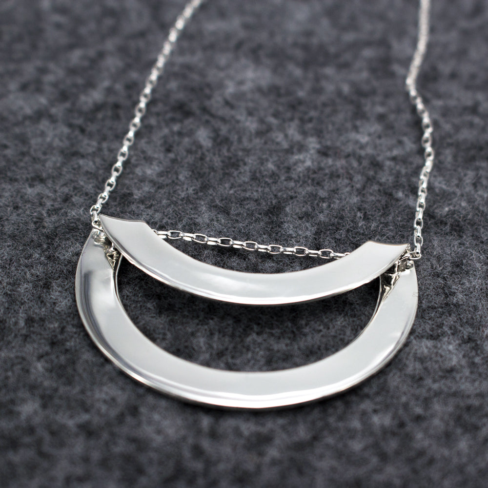 Round Off-Center Folded Sterling Silver Pendant | High Polished Finish | Adjustable Silver Chain