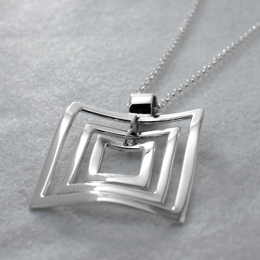 "This AYA Multi Square Sterling Silver Pendant Features A High Polished Sterling Silver Finish.  Measures:  35 Millimeters Long By 35 Millimeters Wide 42 Millimeters Long From Top Of Bail 1.3/8"" Long By 1.3/8"" Wide 1 5/8"" Long From Top Of Bail The Price Includes A 2.5 Millimeters Sterling Silver Rolo Chain With A Lobster Claw Clasp. The Chain Is Adjustable And Can Be Worn At 16"" Or 18"" In Length.  Bail Fits Up To 6 Millimeters Chain."