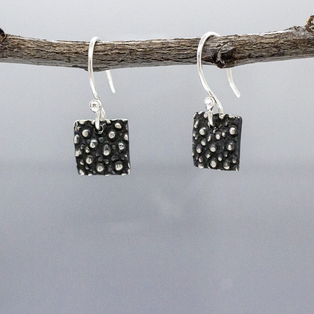 Small Square Dotted Sterling Silver French Wire Earrings | Oxidized Finish