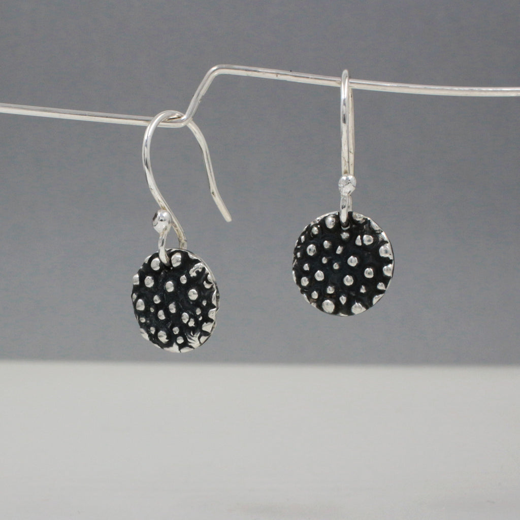 "These Small Disc Dotted Sterling Silver Earrings Measure 10 Millimeters In Diameter. (3/8"" Diameter) 7/8"" Long From Top Of Ear Wire. Sterling Silver French Wire Made Using .950 Sterling Silver With Oxidized Sterling Silver Finish."