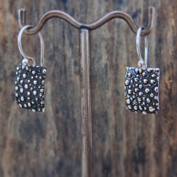 Small Rectangle Dotted Silver Earrings | Oxidized Sterling Silver | Jewelry | Silver | Wholesale | French Wire Sterling Silver | Jewelry | Silver | Wholesale Earrings