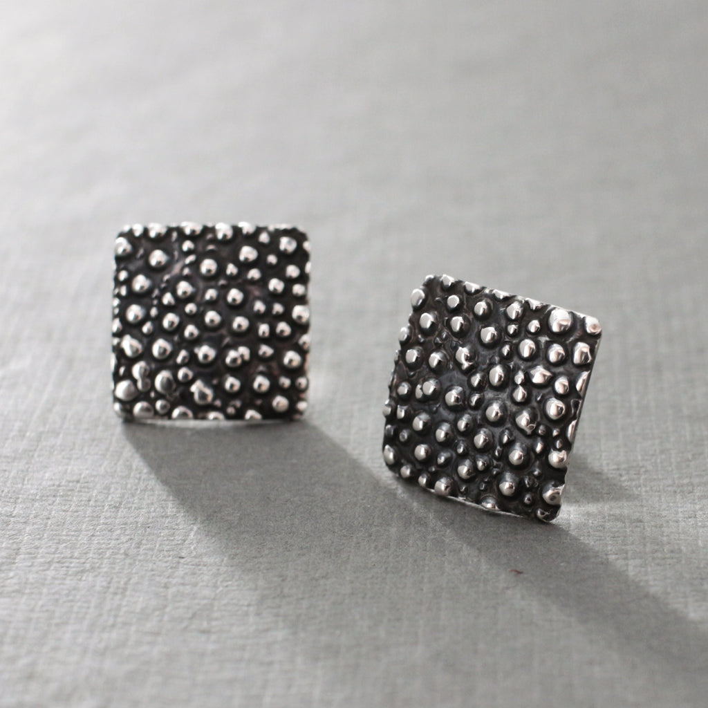 "These Square Dotted Sterling Silver Earrings Measure 16 Millimeters Long By 16 Millimeters Wide. (5/8"" Long By 5/8"" Wide) Sterling Silver Friction Post. Made Using .950 Sterling Silver With Oxidized Sterling Silver Finish."