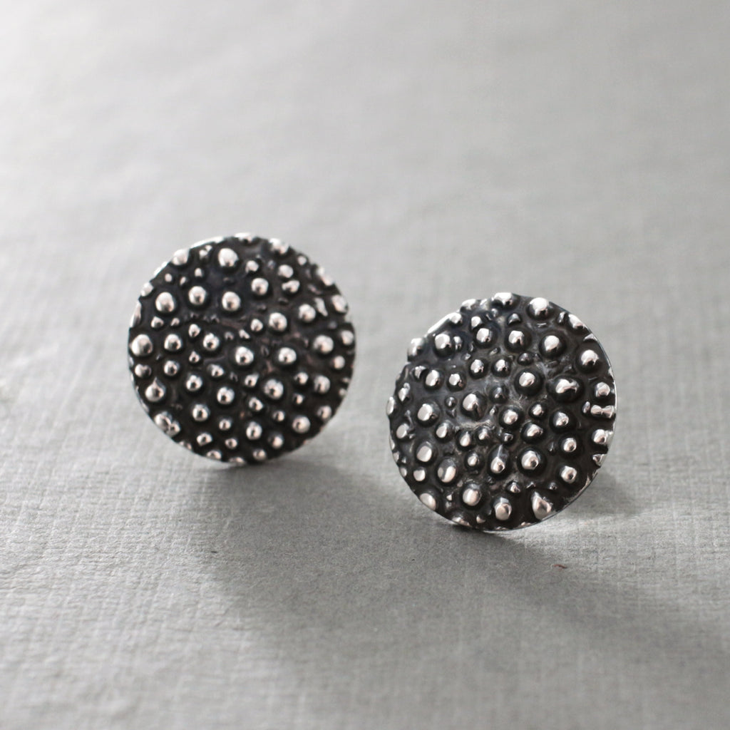 "These Disc Dotted Sterling Silver Earrings Measure 16 Millimeters In Diameter (5/8"" Diameter) Sterling Silver Friction Post.