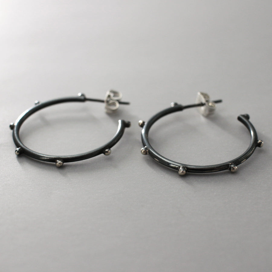 "These Aloe Sterling Silver Dotted Hoop Earrings Measure 24 Millimeters In Diameter And Are 3 Millimeters Thick. (1.15/16"" Diameter And 1/8"" Thick)  Sterling Silver Friction Post.