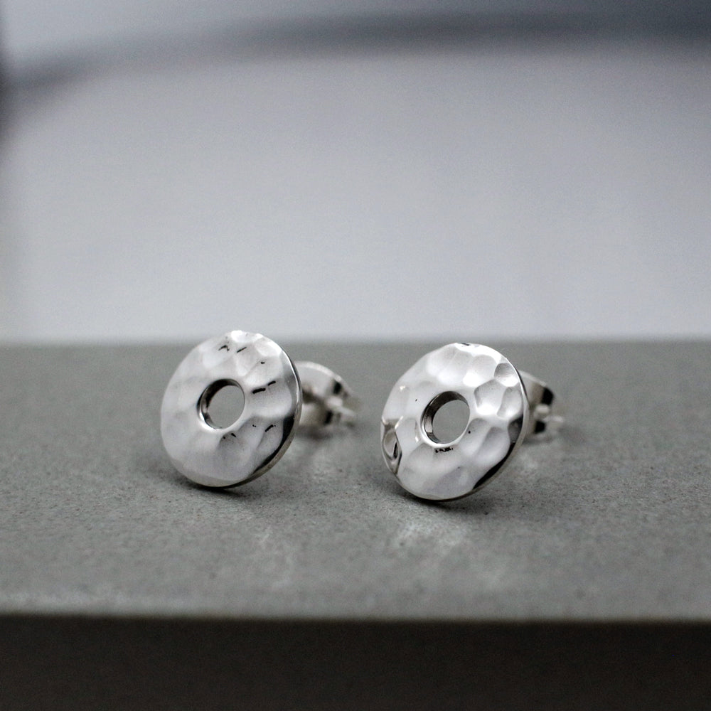 Small Off-Center Disc Sterling Silver Post Earrings | Hammered Finish