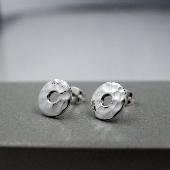 Small Off-Center Disc Silver Earrings | Hammered Sterling Silver | Jewelry | Silver | Wholesale | Sterling Silver | Jewelry | Silver | Wholesale Post Earrings