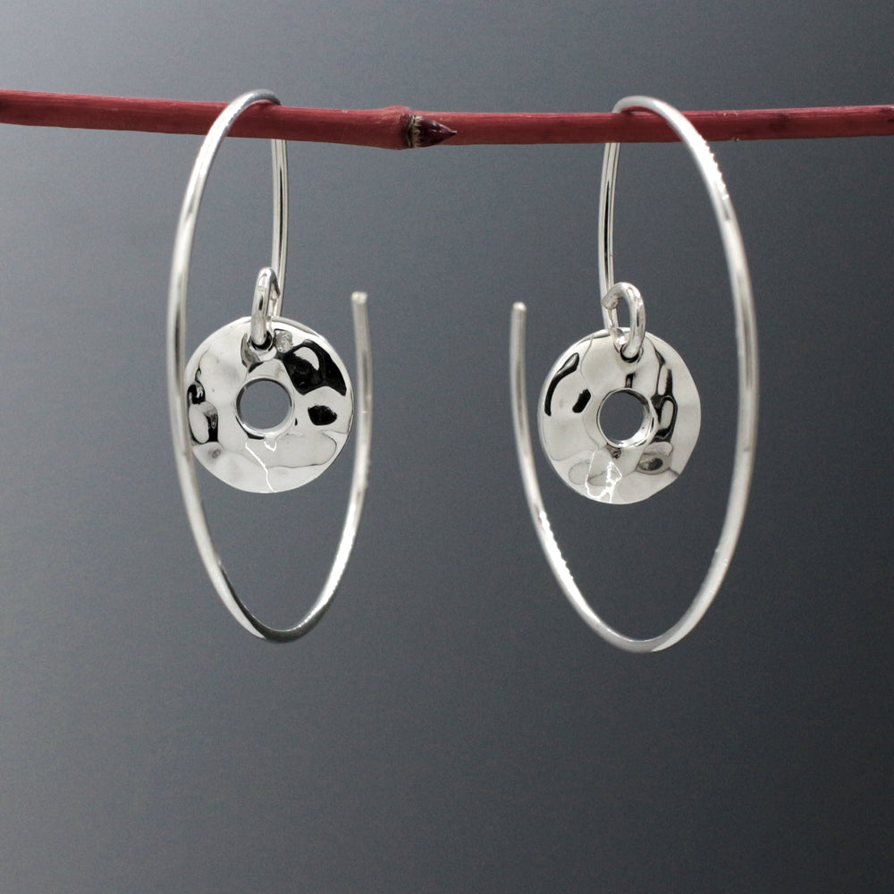 Small Off-Center Disc Within Hoop Sterling Silver Reverse Earrings | Hammered Finish