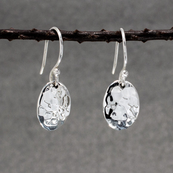 Small Oval Silver Earrings | Hammered Sterling Silver | Jewelry | Silver | Wholesale | French Wire Sterling Silver | Jewelry | Silver | Wholesale Earrings
