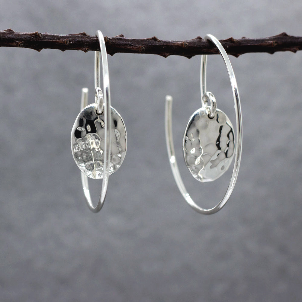 Small Oval Within Hoop Sterling Silver Reverse Earrings | Hammered Finish