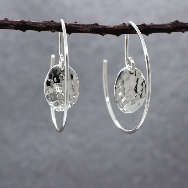 Oval Within Hoop Sterling Silver Earrings With Hammered Finish | Silver Jewelry | Wholesale Silver Jewelry | Silver Hoop Earrings