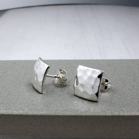 Small Square Silver Earrings | Hammered Sterling Silver | Jewelry | Silver | Wholesale | Sterling Silver | Jewelry | Silver | Wholesale Post Earrings