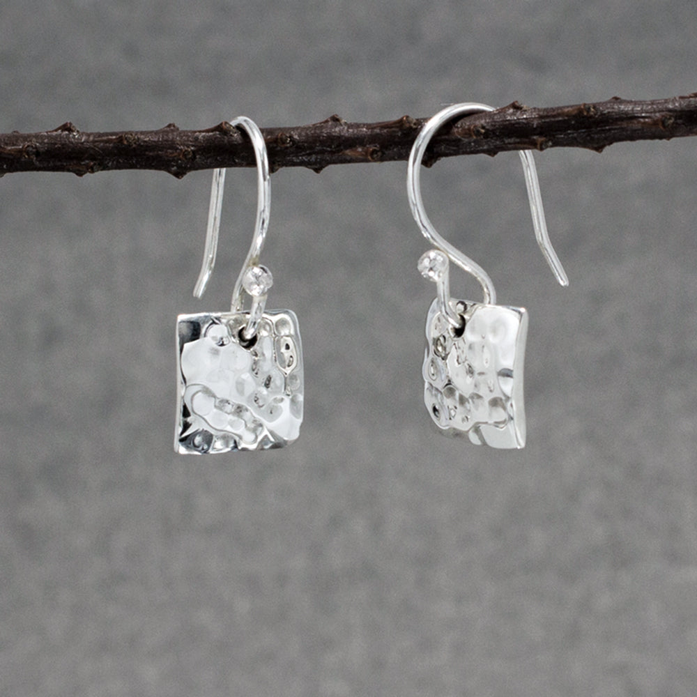 Small Square Sterling Silver French Wire Earrings | Hammered Finish