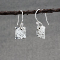 Small Square Sterling Silver Earrings With Hammered Finish | Silver Jewelry | Wholesale Silver Jewelry | French Wire Silver Earrings