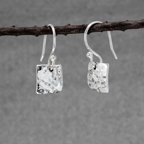 Small Square Silver Earrings | Hammered Sterling Silver | Jewelry | Silver | Wholesale | French Wire Sterling Silver | Jewelry | Silver | Wholesale Earrings